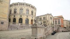 Close up view Parliament Building Oslo Norway Stock Footage