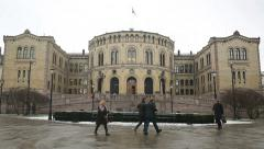 Parliament Building front view Oslo Norway - stock footage