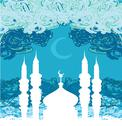 Stock Illustration of artistic pattern background with moon and mosque