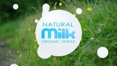 Organic whole milk. Milk drops animated. Stock Footage