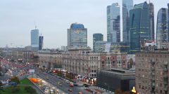 Business complex Moscow City against Intersection of streets Stock Footage