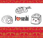 Stock Illustration of cute sushi cartoon illustration - vector card