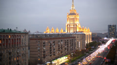 One of Stalin skyscrapers is Hotel Ukraine at Kutuzov Avenue Stock Footage