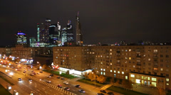 Night cityscape with business complex Moscow City Stock Footage