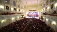 People applause in Moscow Tchaikovsky Conservatory - stock footage