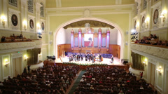 People applause musicians in Moscow Tchaikovsky Conservatory - stock footage