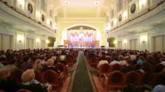Moving in Moscow Tchaikovsky Conservatory during Gala evening - stock footage