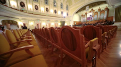 Movement past rows of seats in Moscow Tchaikovsky Conservatory - stock footage