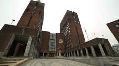 City Hall City of Oslo Norway wide angle view Stock Footage