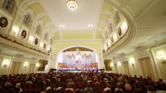 Review hall and stage at Moscow Tchaikovsky Conservatory - stock footage