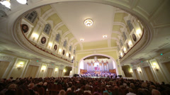 Wide view hall and stage at Moscow Tchaikovsky Conservatory - stock footage