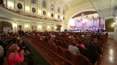 People applause musicians at Moscow Tchaikovsky Conservatory - stock footage