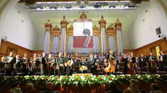 Lead announces on stage at Moscow Tchaikovsky Conservatory Stock Footage