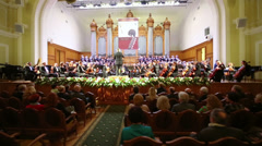 The choir sings at Moscow Tchaikovsky Conservatory Stock Footage