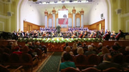 Stock Video Footage of The choir sings at Moscow Tchaikovsky Conservatory