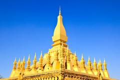 Golden pagada in wat pha that luang, vientiane, laos. Stock Photos