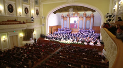 Final performances choir at Moscow Tchaikovsky Conservatory - stock footage