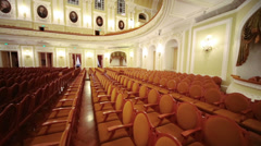 View from scene to hall with empty seats in conservatory Stock Footage