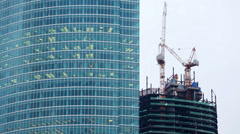 Many windows of skyscraper and construction in Moscow City. Stock Footage