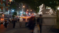 New York City, Night Timelapse of in front of New York Public Library Stock Footage