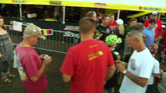 American motocross racer Ryan Dungey takes photos with fans (AMA1-12) Stock Footage