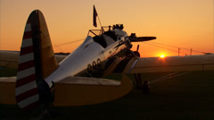 PT-22 Ryan at Sunset Stock Footage