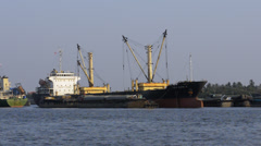 Container Ship Moored in Bangkok Port Stock Footage