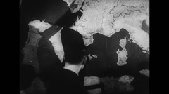 WW2 - US Air Force - Map Planning 02 - Strategical planning for D-Day Stock Footage