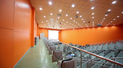 Top view aisle along audience rows at Second Eurasian Congress Stock Footage