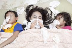 Family having flu Stock Photos