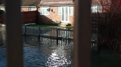 Water rising in the UK floods 2014 Stock Footage