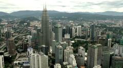 Malaysia Kuala Lumpur 015HD Petronas Twin Towers seen from KL Tower Stock Footage