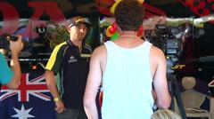 Australian motocross racer Brett Metcalfe being interviewed (AMA1-01) Stock Footage
