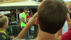 American motocross racer Trey Canard takes photos with fans (AMA1-13) Stock Footage