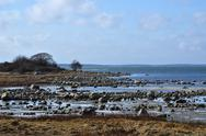 Stock Photo of rocky coastline at low water