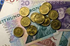 Swedish coins and banknotes Stock Photos