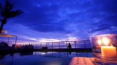 Sunset on Kuta Beach Blue Stock Footage