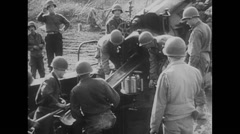 WW2 - US - Artillery Fire 01 - Soldiers and troops Stock Footage