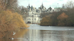 London - Horse Guards view from St James park Stock Footage
