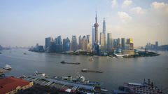 Shanghai, Timelapse Day to Night, Pudong Skyline across Huangpu River Stock Footage