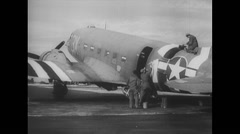 WW2 - US Air Force - Aircafts 12 - Painting DC-3 Stock Footage