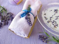 Bath essence with milk and lavender - stock photo