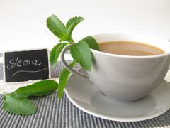 Café au lait with stevia - stock photo