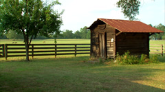 Horse Ranch Pump House Stock Footage