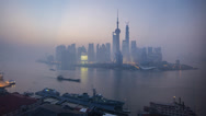 Stock Video Footage of Shanghai, Timelapse Night to Day, Pudong Skyline across Huangpu River