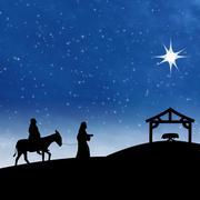 Nativity jesus birth with star on blue night scene Stock Illustration