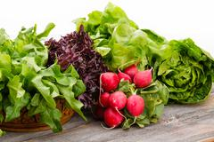 Healthy fresh salad ingredients Stock Photos