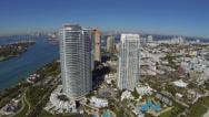 Stock Video Footage of South Beach Aerial View, flying away from coastline