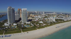 Amazing Aerial view along the coast of Miami Beach Stock Footage