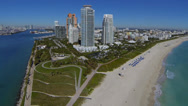 Stock Video Footage of Aerial view of South Beach, South Pointe and Government Cut, Miami, Florida